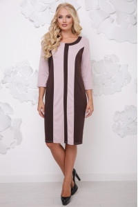 Платье «Бонжур» бежевого цвета с шоколадным