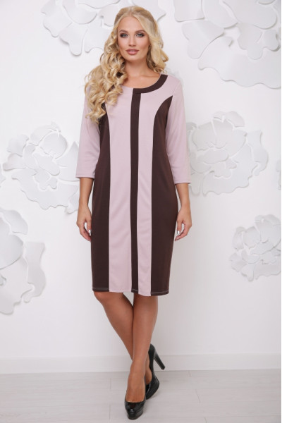 Сукня «Бонжур» бежевого кольору з шоколадним