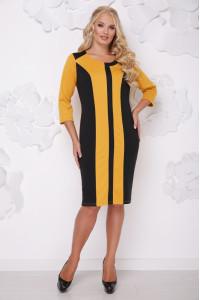 Платье «Бонжур» горчичного цвета с черным