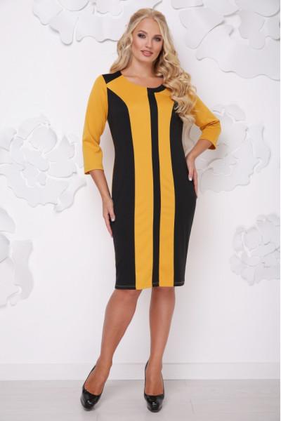 Сукня «Бонжур» гірчичного кольору з чорним