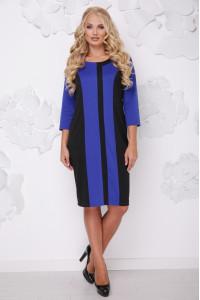 Платье «Бонжур» цвета электрик с черным