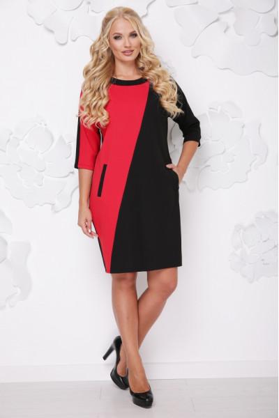 Сукня «Мішель» червоного кольору з чорним