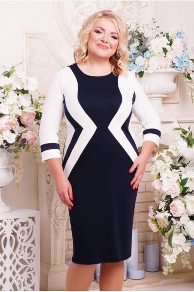 Сукня «Секрет» темно-синя з білим
