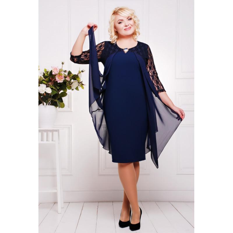 f5ddbf5ff524165 Сукня темно-синя з мереживом - купити в Києві, доставка по Україні