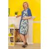 Платье «Цветочные мотивы» бело–голубого цвета