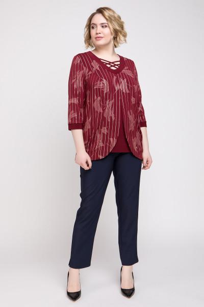 Блуза «Луїс» бордового кольору з великими квітами