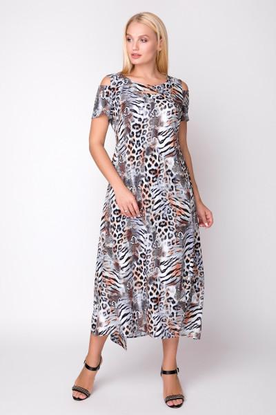 Сукня «Лія» принт коричневий леопард