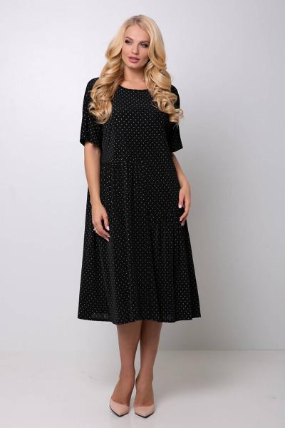 Сукня «Елена» чорного кольору в дрібний горох