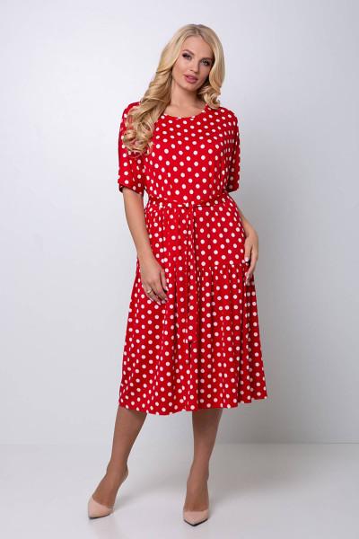 Сукня «Елена» червоного кольору в великий горох