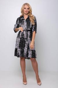 Платье «Перис» черного цвета с белым принтом