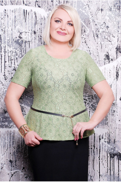 Блуза «Паула» оливкового кольору