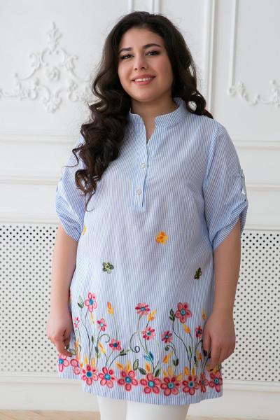 Блуза «Флора» блакитного кольору