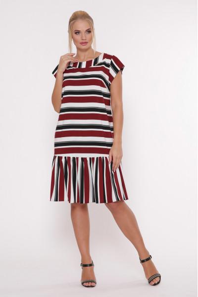 Сукня «Яна» у бордову смужку