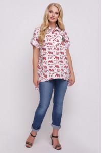 Блуза «Ангелина» с красным принтом
