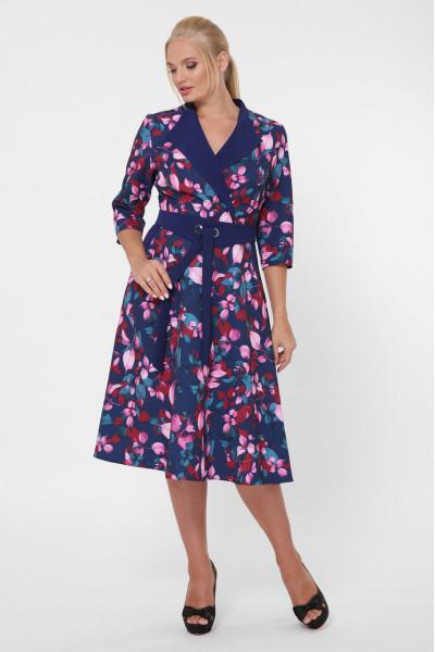 Платье «Хлоя» синего цвета с цветами